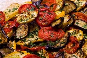 Crisp Tomato, Zucchini and Eggplant Bread Gratin